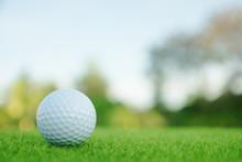 Golf Ball On Green Grass Ready...