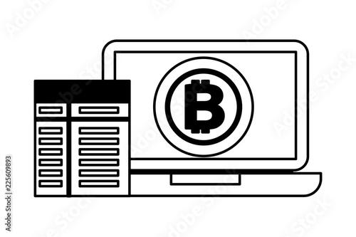 laptop computer bitcoin contract fintech Canvas Print