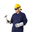 portrait of a worker in Mechanic Jumpsuit is Holding a hammer isolated on white background