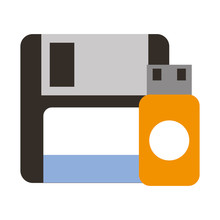 Floppy Disk And Drive Flash Copying Data
