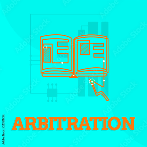 Photo Text sign showing Arbitration