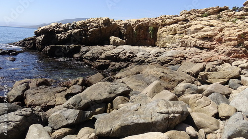 Landscape, rocky beach and seaside