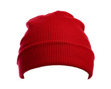Red Wool Hat Isolated On White...