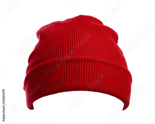 Fototapeta Red wool hat isolated on white background. obraz