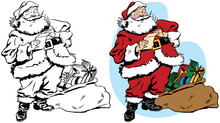 Santa Claus Laughs As He Reads His List Next To His Sack Of Wrapped Christmas Presents.
