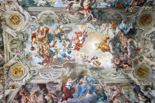 Artistique Painting on the ceiling of the Palazzo Barberini in Rome, Italy, with bees which are the symbol of the house
