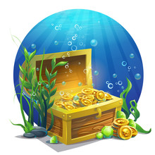 Vector Illustration Chest With Coins