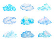 Leinwandbild Motiv Set of Bright Light Blue Watercolor Clouds, Isolated on White, Hand Drawn and Painted