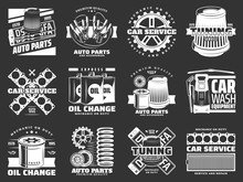 Car Service And Auto Parts Monochrome Icons Vector