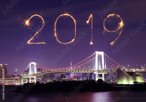 Printed kitchen splashbacks Eggplant 2019 Happy new year firework Sparkle with Rainbow bridge at night, tokyo, Japan