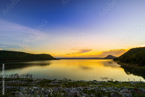 Keuken foto achterwand Dam landscape view of Lam Mun Bon dam in twilight at Nakhon Ratchasima, Thailand