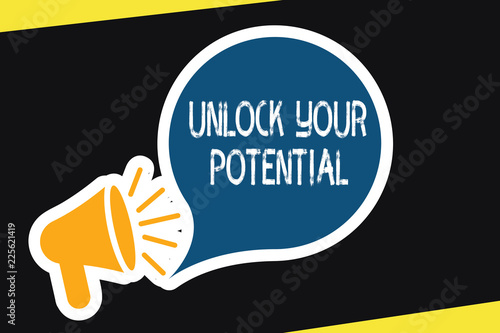 Handwriting text Unlock Your Potential question Wallpaper Mural