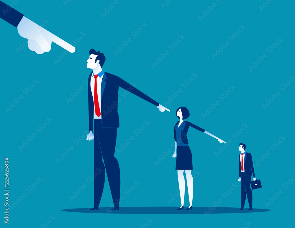 Fototapeta Business people lay the blame at someone. Concept business vector, Blame, Slander, Responsibility.