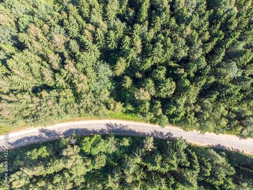 Foto op Plexiglas Groene aerial top view of countryside asphalt road. natural landscape scenic image