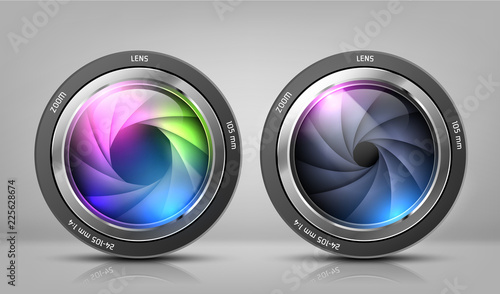 Fotografía  Vector realistic clipart with two camera lenses, photo objectives with zoom isolated on background