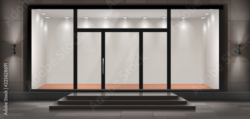 Fotomural Vector illustration of storefront with steps and entrance door, glass illuminated showcase for presentations and museum exhibitions