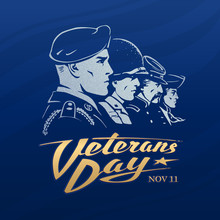 Veterans Day. Dark Blue Vector...
