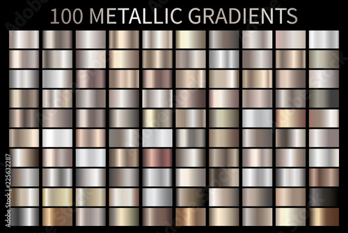 Metallic, bronze, silver, gold, chrome metal foil texture gradient Wallpaper Mural