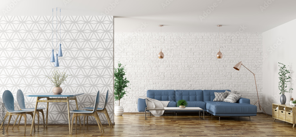 Fototapety, obrazy: Interior of living room with sofa and table and chairs 3d rendering