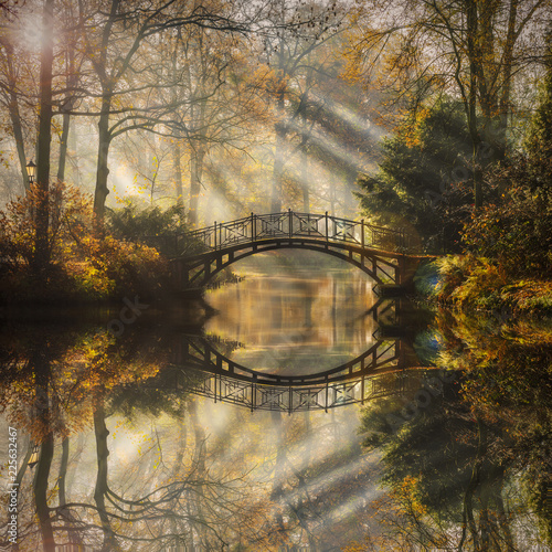 Keuken foto achterwand Bruggen Scenic view of misty autumn landscape with beautiful old bridge in the garden with red maple foliage.