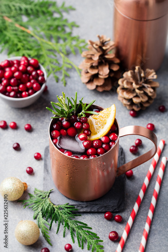 Fotobehang Cocktail Christmas Moscow mule, holiday drink in a copper mug. Grey stone background.