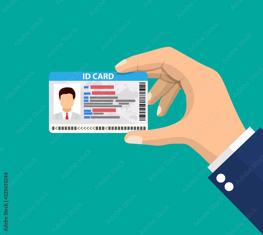 Fototapeta hand holding the id card.