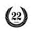 22 years anniversary. Elegant anniversary design. 22 years logo.