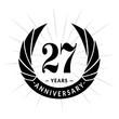 27 years anniversary. Elegant anniversary design. 27 years logo.