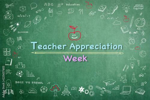 National teacher appreciation week on green chalkboard with doodle Canvas Print