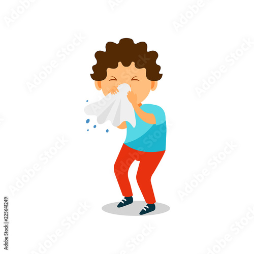 Fotografia, Obraz  Boy blowing her nose with a tissue, kid caught a flu vector Illustration on a wh
