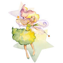 Hand  Drawn Watercolor Fairy With Star And Magic Wand