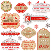 Collection Of Elegant Vintage Christmas Vector Labels.
