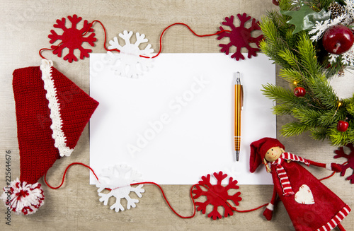 Flat Lay View Of Empty Sheet White Paper For Making Christmas Gifts Wish List