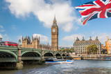 Fototapeta Big Ben - Big Ben and Houses of Parliament with boat in London, UK