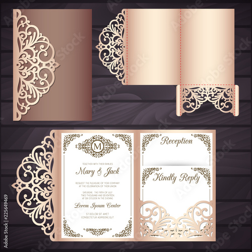 Fototapeta Laser Cut Wedding Invitation Card Template Vector Tri Fold Envelope Wedding Invitation Or Greeting Card With Abstract Ornament Suitable