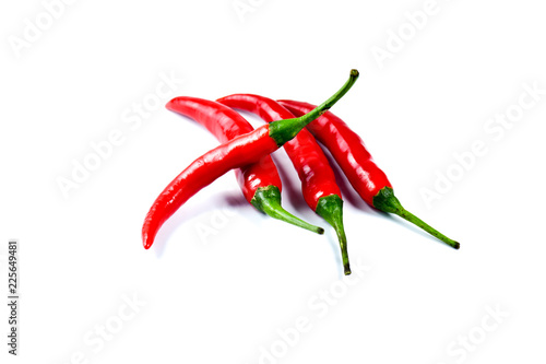 Hot red chili or chilli pepper on white background.