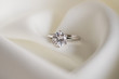 canvas print picture - Jewelry wedding diamond ring close up