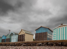 Boarded Up Beach Huts At Budle...