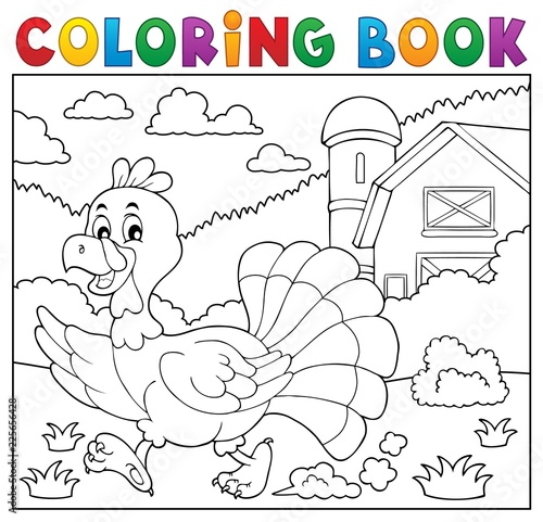 Montage in der Fensternische Für Kinder Coloring book running turkey bird 2
