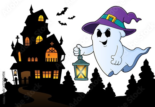 Poster Voor kinderen Ghost with hat and lantern topic 3