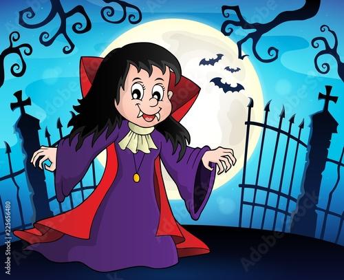 Fotobehang Voor kinderen Vampire girl theme image 8