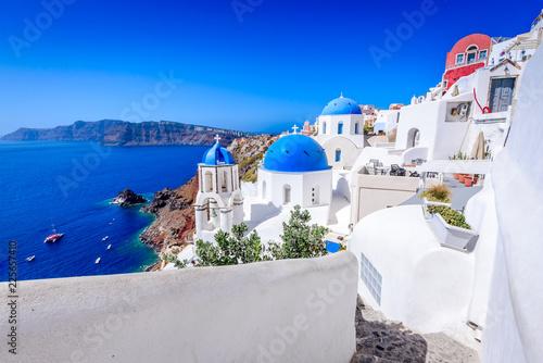 Fototapeta Oia, Santorini, Greece - Blue church and caldera obraz