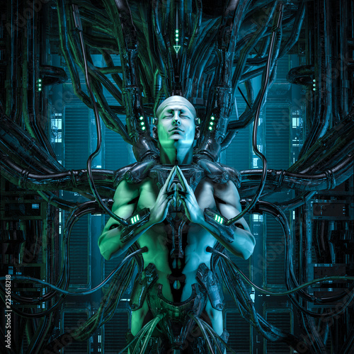 Photo The quantum zen king / 3D illustration of male android hardwired to computer cor