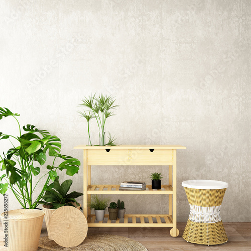 Fototapeta interior design for living area or reception with , rattan armchair,plants,cabinet on wood floor and concrete background / 3d illustration,3d rendering obraz na płótnie