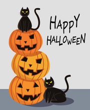 Halloween Pumpkin With Black Cat Cartoon Character Design For Card Banner Background.