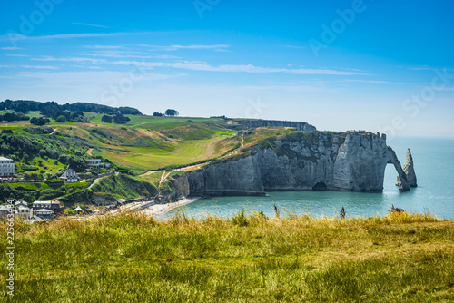 Spectacular natural cliffs Aval of Etretat and beautiful famous coastline, Normandy, France, Europe Wallpaper Mural