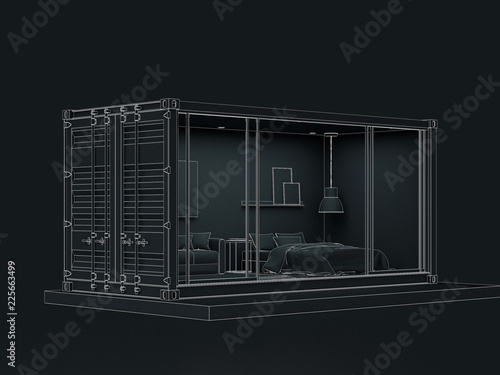 Photo 3D wireframe render of Container house exterior.
