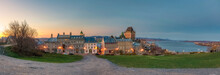 Panoramic View Of Old Quebec City, Chateau Frontenac And St-Denis Street At Dusk, Quebec City, Canada