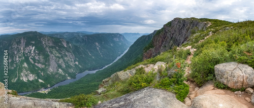 Photo  Overview on the valley of Malbaie river from an high angle on the summit, Mont d