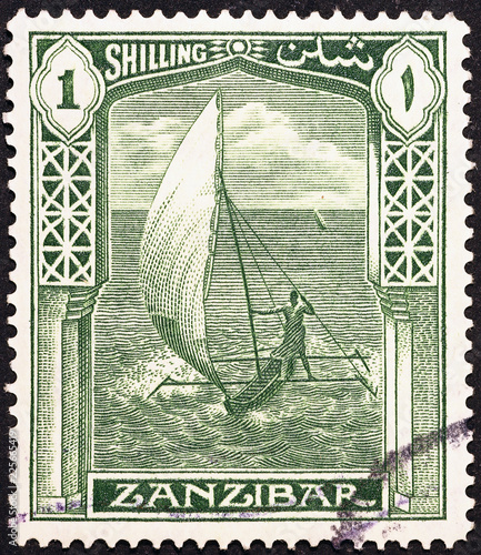 Dhow on vintage beautiful postage stamp of Zanzibar